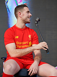 LIVERPOOL, ENGLAND - Monday, May 9, 2016: Liverpool's captain Jordan Henderson with a GoPro and selfie stick at the launch of the New Balance 2016/17 Liverpool FC kit at a live event in front of supporters at the Royal Liver Building on Liverpool's historic World Heritage waterfront. (Pic by Lexie Lin/Propaganda)