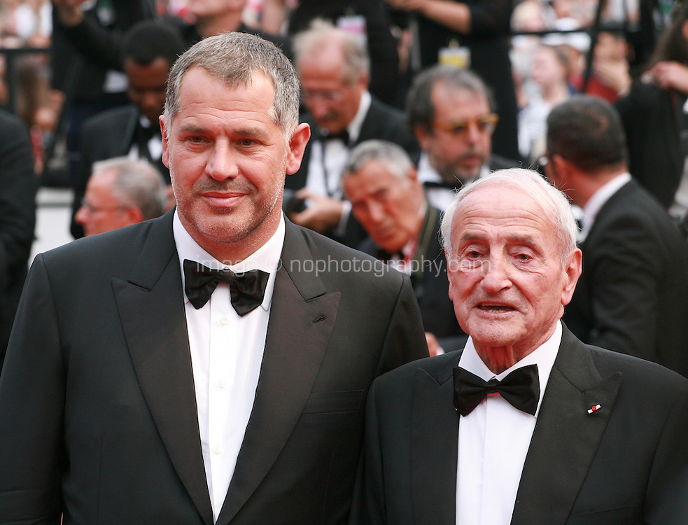 Director Luc Jacquet and Glaciologist/Actor Claude Lorius at the Closing ceremony and premiere of La Glace Et Le Ciel at the 68th Cannes Film Festival, Sunday 24th May 2015, Cannes, France.