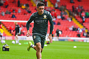 Leeds United midfielder Pablo Hernandez (19) warming up during the EFL Sky Bet Championship match between Barnsley and Leeds United at Oakwell, Barnsley, England on 15 September 2019.