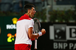 May 18, 2018 - Rome, Rome, Italy - 18th May 2018, Foro Italico, Rome, Italy; Italian Open Tennis; Novak Djokovic (SRB) celebrates after winnig his quater-final match 2-6 6-1, 6-3 against Kei Nishikori (JPN). Credit: Giampiero Sposito/Pacific Press (Credit Image: © Giampiero Sposito/Pacific Press via ZUMA Wire)