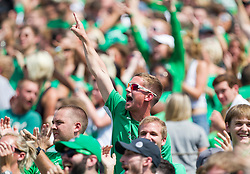 Sep 6, 2015; Huntington, WV, USA; A Marshall Thundering Herd fan cheers after scoring during the first quarter at Joan C. Edwards Stadium.  at Joan C. Edwards Stadium. Mandatory Credit: Ben Queen-USA TODAY Sports