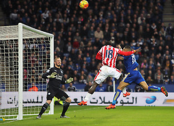 Mame Biram Diouf of Stoke City (C) heads at goal - Mandatory byline: Jack Phillips/JMP - 23/01/2016 - FOOTBALL - King Power Stadium - Leicester, England - Leicester City v Stoke City - Barclays Premier League