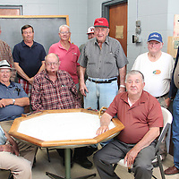 (Floyd Ingram / Buy at photos.chickasawjournal.com)<br /> Members of the Domino Group men have been meeting to play for more than 50 years. The group played their last hand Tuesday, April 26, 2016 at the Fire Station in Houston.