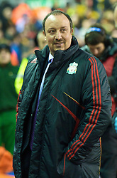 LIVERPOOL, ENGLAND - Saturday, December 26, 2009: Liverpool's manager Rafael Benitez prepares to take on Wolverhampton Wanderers during the Premiership match at Anfield. (Photo by: David Rawcliffe/Propaganda)
