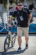 Wade Boots arriving on race day at the 2018 UCI BMX World Championships in Baku, Azerbaijan.