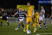 Forest Green Rovers Midfielder, Marcus Kelly (10) closes down Sutton United Defender, Dean Beckwith (4) during the Vanarama National League match between Sutton United and Forest Green Rovers at Gander Green Lane, Sutton, United Kingdom on 14 March 2017. Photo by Adam Rivers.