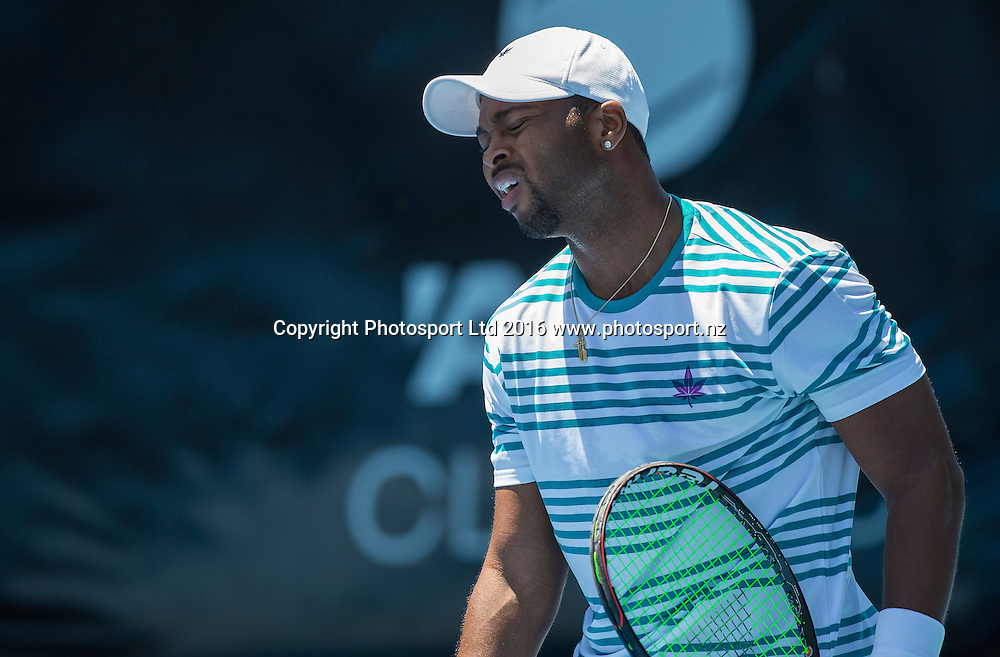 United States` Donald Young reacts as he plays Spain`s Roberto Bautista Agut in a singles match on Day 3 at the ASB Classic Tennis Men`s Tournament, ASB Tennis Arena, Auckland, New Zealand, Wednesday, January 13, 2016. Copyright photo: David Rowland / www.photosport.nz