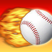 Studio shot of a baseball ball in motion with flames to signify speed and power against a red and orange gradient background