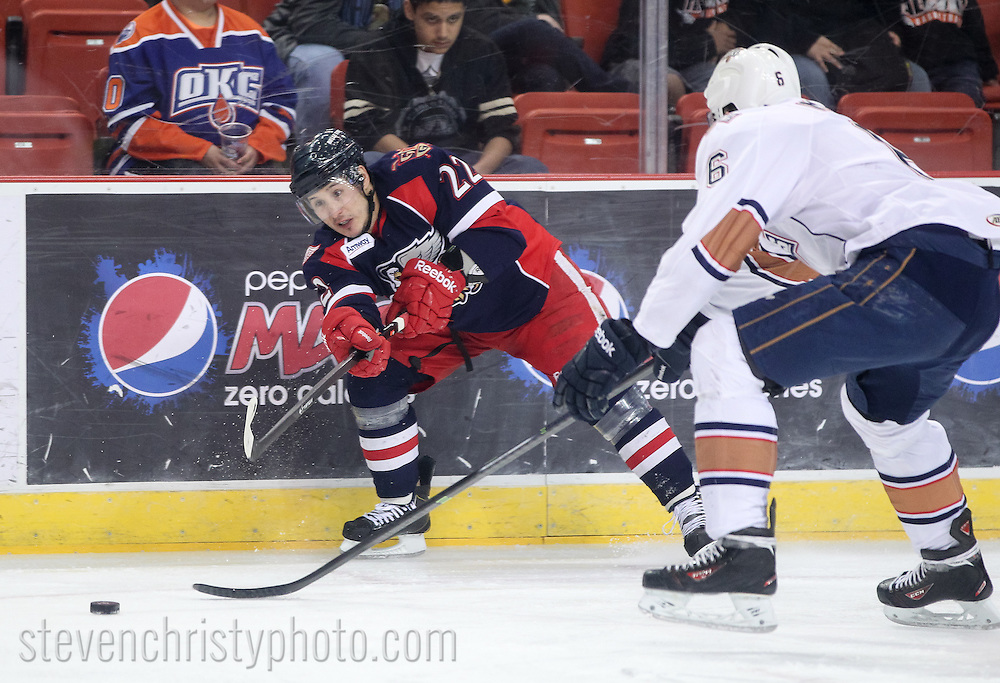 March 14, 2014: The Oklahoma City Barons play the Grand Rapids Griffins in an American Hockey League game at the Cox Convention Center in Oklahoma City.