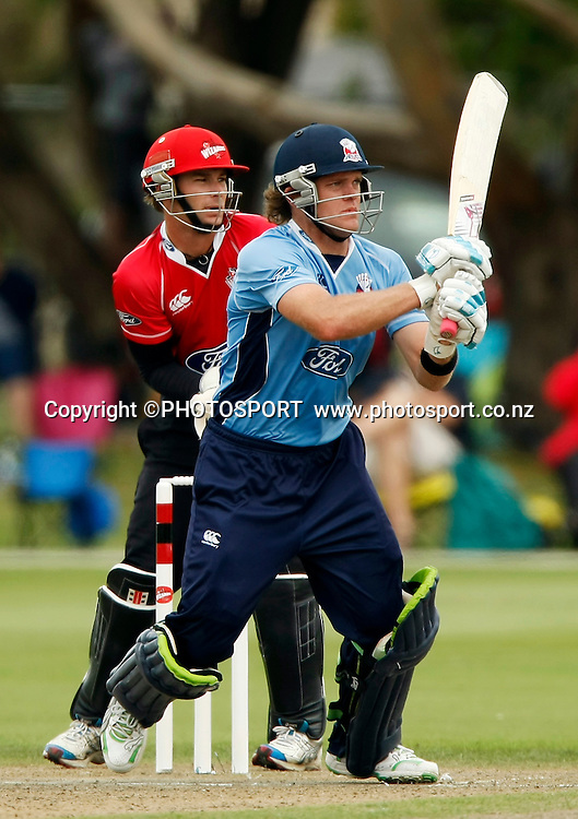 Auckland batsman Lou Vincent during his innings with wicket keeper Reece Young. Canterbury Wizards v Auckland Aces in the One Day Competition Final. QEII Park, Christchurch, New Zealand. Sunday, 13 February 2011. Joseph Johnson / PHOTOSPORT.