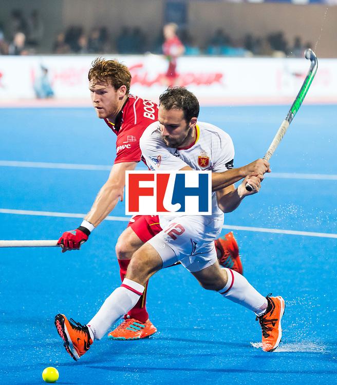 BHUBANESWAR - Marc Garcia (Esp) met Gauthier Boccard (Bel) Hockey World League finals , wedstrijd om de 5e plaats. Belgie-Spanje.  COPYRIGHT KOEN SUYK