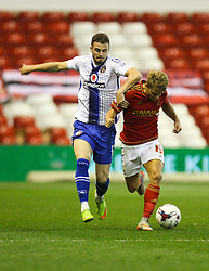Craig MacGillivray of Walsall (L) and Jamie Ward of Nottingham Forest in action - Mandatory byline: Jack Phillips / JMP - 07966386802 - 11/08/15 - FOOTBALL - The City Ground - Nottingham, Nottinghamshire - Nottingham Forest v Walsall - Football League Cup Round 1