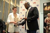 Maiva HAMADOUCHE / Malamine KONE  - 12.06.2015 - Conference de presse du gala de boxe Apocalypse - Paris<br /> Photo : Nolwenn Le Gouic / Icon Sport