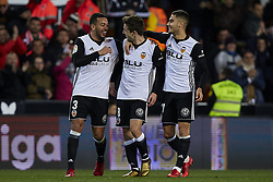 January 9, 2018 - Valencia, Valencia, Spain - Vietto (C) of Valencia CF celebrates after scoring with his teammate Andreas Pereira and Ruben Vezo of Valencia CF during the Copa del Rey Round of 16, second leg game between Valencia CF and Las Palmas at Mestalla on January 9, 2018 in Valencia, Spain  (Credit Image: © David Aliaga/NurPhoto via ZUMA Press)