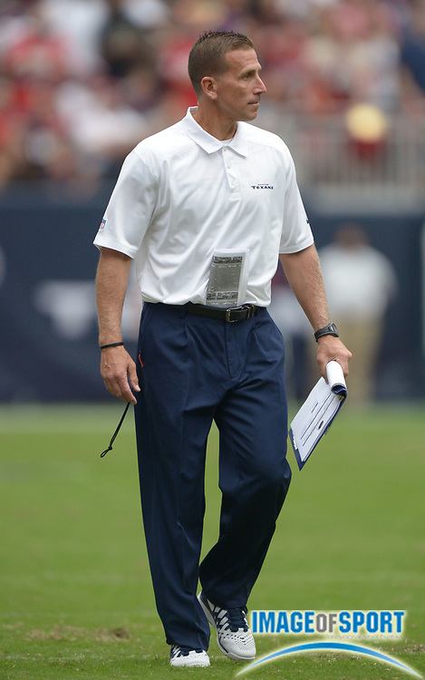 Aug 25, 2013; Houston, TX, USA; Houston Texans assistant special teams coach Bob Ligashesky during the game against the New Orleans Saints at Reliant Stadium.