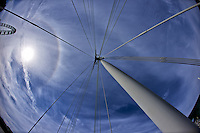 View Up From the Golden Jubilee Pedestrian Bridge. Solar Halo and the London Eye. Image taken with a Nikon D800 and 16 mm f/2.8 fisheye lens (ISO 100, 16 mm, f/5.6, 1/3200 sec).