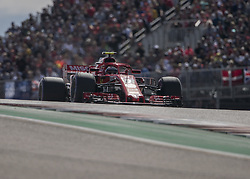 October 21, 2018 - Austin, USA - Scuderia Ferrari driver Kimi Raikkonen (7) of Finland heads into Turn 2 during the Formula 1 U.S. Grand Prix at the Circuit of the Americas in Austin, Texas on Sunday, Oct. 21, 2018. Raikkonen won the race. (Credit Image: © Scott Coleman/ZUMA Wire)