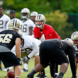 May 31, 2012; Metairie, LA, USA; New Orleans Saints quarterback Sean Canfield (4) during organized team activities at the team's practice facility. Mandatory Credit: Derick E. Hingle-US PRESSWIRE