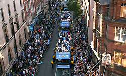 Manchester players on a open-top bus during the Premier League champions trophy parade, Manchester.