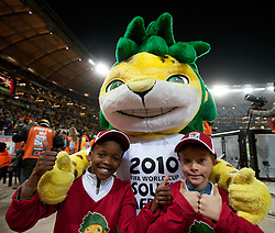 Mascot Zakumi during the 2010 FIFA World Cup South Africa Quarter Finals football match between Uruguay and Ghana on July 02, 2010 at Soccer City Stadium in Sowetto, suburb of Johannesburg. (Photo by Vid Ponikvar / Sportida)