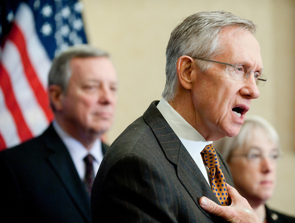 "Feb 3, 2011 - Washington, District of Columbia, U.S. - Senate Majority Leader HARRY REID (D-NV) during a news conference to ""urge Republicans to join in a responsible approach to deficit reduction, and drop threats to force a government shutdown that would have disastrous consequences for the economy.""(Credit Image: © Pete Marovich/ZUMA Press)"