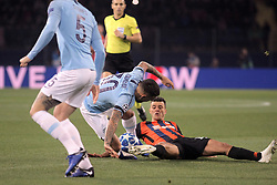 October 23, 2018 - Kharkiv, Ukraine - Forward Junior Moraes (R) of FC Shakhtar Donetsk and defender Nicolas Otamendi (2nd L) of Manchester City FC are seen in action during the UEFA Champions League Group F Matchday 3 game at the Metalist Stadium Regional Sports Complex, Kharkiv, northeastern Ukraine, October 23, 2018. Ukrinform. (Credit Image: © Vyacheslav Madiyevskyy/Ukrinform via ZUMA Wire)