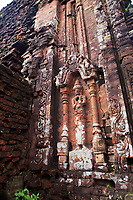 Jumbled masonry and Hindu carvings at My Son Sanctuary, Qang Nam Province, Vietnam