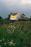 Seen from a low angle at the side of the track, near where grass and daisies grow, a speeding Eurostar TGV train hurtles towards the viewer, blurring as it comes towards us. This is the Kent countryside, otherwise known as the fertile Garden of England, and the route for high-speed trains that ply back and forth between western Europe and London St Pancras. This international passenger service was made possible by the completion of the Channel Tunnel in 1994 operating eighteen-carriage Class 373 trains which run at up to 300 kilometres per hour (186 mph) on a network of high-speed lines. Eurostar is operated by the national railway companies of France and Belguim, SNCF and SNCB, and by Eurostar (UK) Ltd (EUKL), a subsidiary of London and Continental Railways (LCR) which in turn also owns the high-speed infrastructure and stations on the British side.