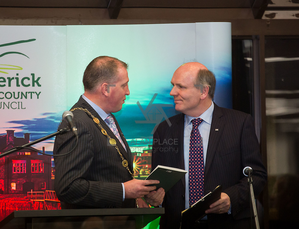 08/12/2015                <br /> Limerick City &amp; County Council launches Ireland 2016 Centenary Programme<br /> <br /> An extensive programme of events across the seven programme strands of the Ireland 2016 Centenary Programme was launched at the Granary Library, Michael Street, Limerick, last night (Monday, 7 December 2015) by Cllr. Liam Galvin, Mayor of the City and County of Limerick.<br /> <br /> Led by Limerick City &amp; County Council and under the guidance of the local 1916 Co-ordinator, the programme is the outcome of consultations with interested local groups, organisations and individuals who were invited to participate in the planning and implementation of events and initiatives during 2016.  <br /> <br /> Pictured at the event was Mayor of Limerick, Cllr. Liam Galvin and Damien Brady, 2016 Co-Ordinator. Picture: Alan Place