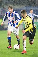 Voetbal Heerenveen Eredivisie 2014-2015 SC Heerenveen - Vitesse: L-R Joey van den Berg (SC Heerenveen), Rochdi Achenteh (Vitesse)