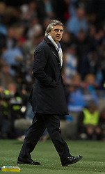 MANCHESTER, ENGLAND - Monday, April 30, 2012: Manchester City's manager Roberto Mancini during the Premiership match against Manchester United at the City of Manchester Stadium. (Pic by Chris Brunskill/Propaganda)