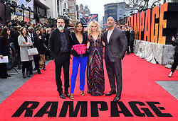 Jeffrey Dean Morgan, Naomie Harris, Malin Akerman and Dwayne Johnson attending the European premiere of Rampage, held at the Cineworld in Leicester Square, London