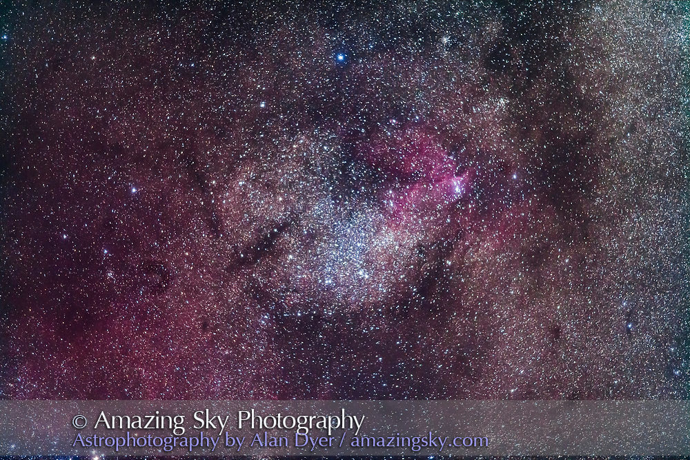 The faint emission nebula NGC 6188 in Ara with the loose cluster NGC 6193, in a wide field shot to simulate a binocular field of view. Most prominent is the bright star cloud in Ara.<br /> <br /> This is a stack of 5 x 2-minute exposures with the 200mm lens at f/2.8 and filter-modified Canon 5D MkII at ISO 1600. From Tibuc Gardens Cottage, Australia.