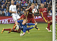 Real Salt Lake defender Justen Glad (15) scores past Sporting KC goal keeper Tim Melia (29) during the first half at Children's Mercy Park.