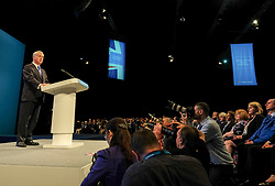 (c) Licensed to London News Pictures. <br /> 03/10/2017<br /> Manchester, UK<br /> <br /> Defence Secretary, Sir Michael Fallon delivers his speech at the Conservative Party Conference held at the Manchester Central Convention Complex.<br /> <br /> Photo Credit: Ian Forsyth/LNP