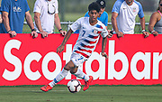 Team USA forward Osvaldo Reyes (7) carries the ball upfield in a game against Portugal during a CONCACAF boys under-15 championship soccer game, Saturday, August 10, 2019, in Bradenton, Fla. Portugal defeated Team USA 3-0 and advanced to the finals against Slovenia. (Kim Hukari/Image of Sport)