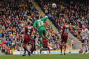 Bradford City goalkeeper Brad Jones punches the ball clear during the Sky Bet League 1 match between Bradford City and Sheffield Utd at the Coral Windows Stadium, Bradford, England on 20 September 2015. Photo by Simon Davies.