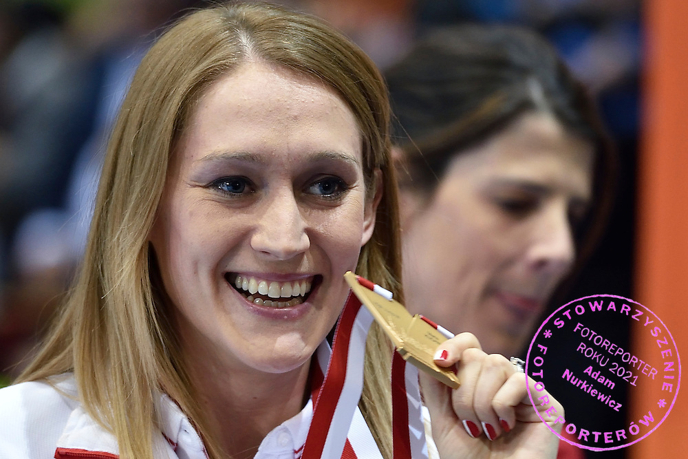 Kamila Licwinko (maiden name: Stepaniuk) of Poland pose with her gold medal while medal's ceremony during the IAAF Athletics World Indoor Championships 2014 at Ergo Arena Hall in Sopot, Poland.<br /> <br /> Poland, Sopot, March 9, 2014.<br /> <br /> Picture also available in RAW (NEF) or TIFF format on special request.<br /> <br /> For editorial use only. Any commercial or promotional use requires permission.<br /> <br /> Mandatory credit:<br /> Photo by &copy; Adam Nurkiewicz / Mediasport
