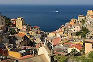 Sea view above Riomaggiore, Cinque Terre, Liguria, Italian Riviera, Italy, Europe