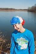 Noah Rosenblatt poses for a portrait in his costume before the Ohio University Polar Plunge. Rosenblatt  was an entrant in the Polar Plunge costume contest, which was held before the plunge itself. Photo by: Ross Brinkerhoff.
