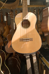 Schoenberg Guitars, city of Tiburon on San Francisco Bay, CA, California.  Appealing community on Marin side with breakfast places, sailboats, outdoor dining, houses with scenic views, views of the Golden Gate, cormorant birdlife, public sculptures, a railroad museum, boutique art shops, and an historic China Cabin building from an ex-ship..Photo camari275-70611..Photo copyright Lee Foster, www.fostertravel.com, 510-549-2202, lee@fostertravel.com.
