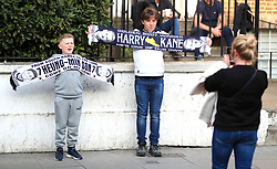 Young Tottenham Hotspur's fans pose for a picture outside the grounds prior to the Champions League, Semi Final, First Leg at the Tottenham Hotspur Stadium, London.