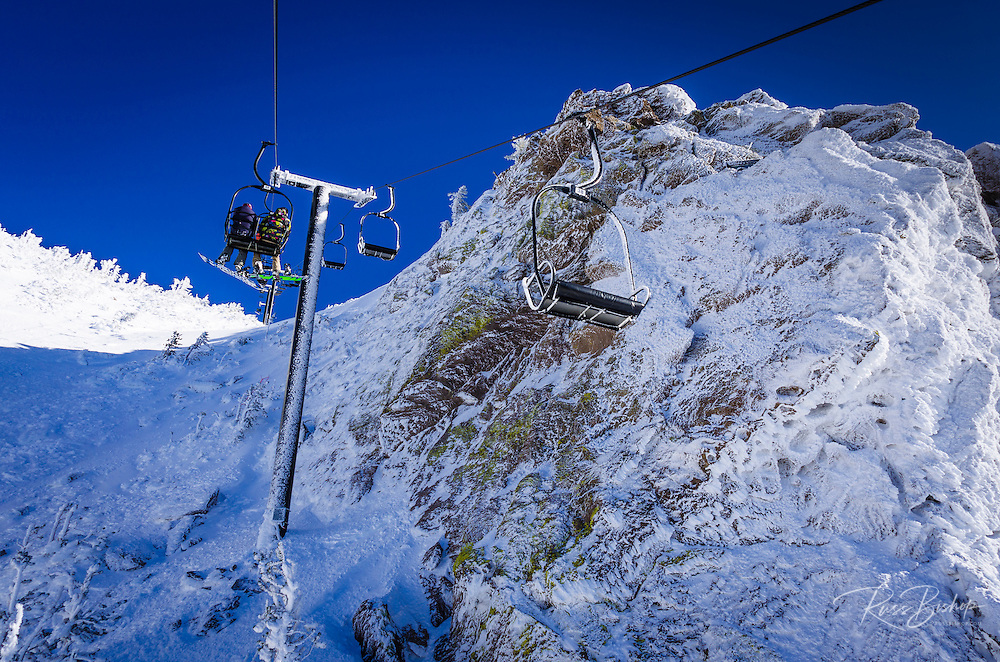 Chairlift covered in rime ice, Mammoth Mountain Ski Area, Mammoth Lakes, California USA