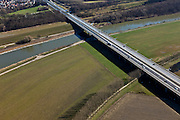 Nederland, Limburg, gemeente Stein, 07-03-2010; omgeving Meers, snelweg A76 kruist Julianakanaal en grens met Belgie (rechtsonder)..A76 highway crosses border with Belgium and Julianakanaal.luchtfoto (toeslag), aerial photo (additional fee required).foto/photo Siebe Swart