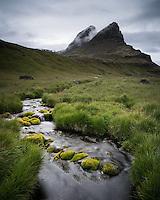 River Hafnará and Mount Hafnarhirna in background. West fiords of Iceland.