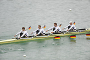 Munich, GERMANY,   GER M4X, bow. Stephan KRUEGER, Tim GROHMANN, Lauritz SCHOOF and Mathias ROCHER. 2010 FISA World Cup. Munich Olympic Rowing Course, Sunday  20/06/2010   [Mandatory Credit Peter Spurrier/ Intersport Images]