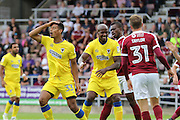 AFC Wimbledon striker Lyle Taylor (33) can believe his header goes wide during the EFL Sky Bet League 1 match between Northampton Town and AFC Wimbledon at Sixfields Stadium, Northampton, England on 20 August 2016. Photo by Stuart Butcher.