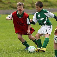 David Casey and Darragh Minitor at the Moneypoint FC Summer Soccer Camp in Kilrush on Wednesday.<br /> Photograph by Yvonne Vaughan