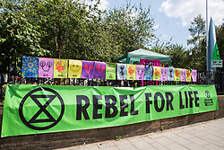 London, UK. 16 July, 2019. The perimeter of the camp on Waterloo Millennium Green made by climate activists from Extinction Rebellion preparing for actions during their 'Summer uprising', a series of events intended to apply pressure on local and central government to address the climate and biodiversity crisis. Credit: Mark Kerrison/Alamy Live News