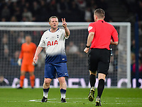 Football - 2018 / 2019 New Tottenham Hotspur Stadium Test Event, Two - Spurs Legends vs. Inter Forever<br /> <br /> Spurs Legends' Micky Hazard gestures to Referee Peter Bankes, at Tottenham Hotspur Stadium.<br /> <br /> COLORSPORT/ASHLEY WESTERN